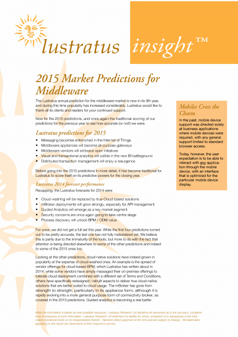 2015 Market predictions for Middleware HIGH